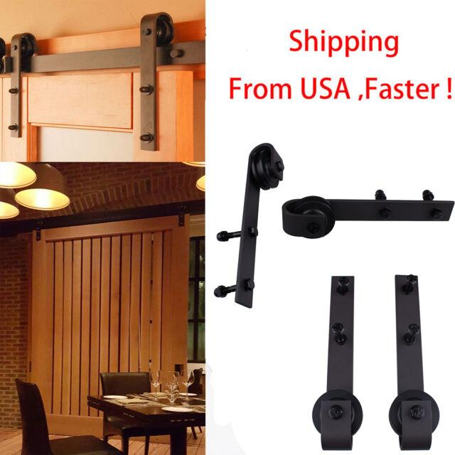 2x Steel Sliding Wood Barn Door Rollers Closet Hangers Wheel Hardware Kit Black