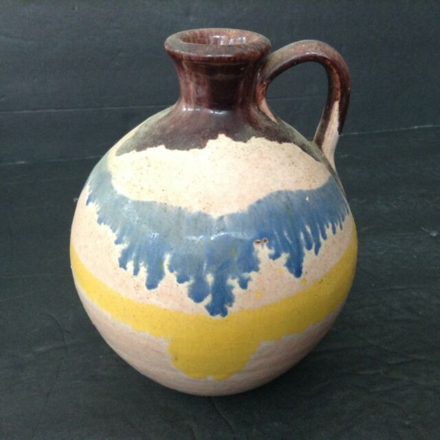 Vintage Drip Glazed Jug Vase Brown Blue Yellow Peach Colors Handled