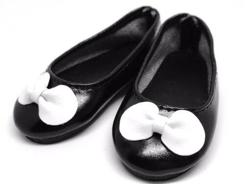 Black White Bow Flat Ballet Doll Shoes for 1/4 MSD BJD Minifee, Resinsoul