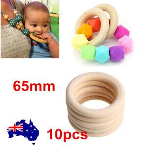 10pcs-65mm-Nature-Wooden-Baby-Teether-Teething-Ring-DIY-Wood-Rings-Nursing-Rings