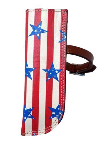 New Unique Med Tan Black Stars Stripes Leather Western Flag Holders Tooled studs