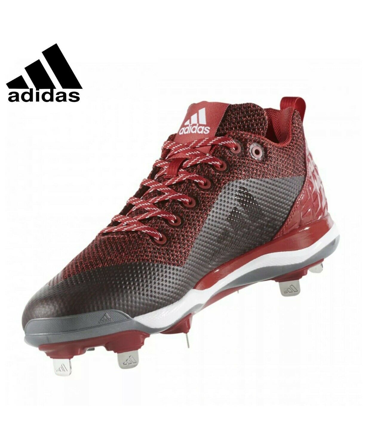 Adidas Power Alley 5 Men's Low Metal Baseball Cleats   Red Size 10.5 (B39182)