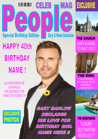 Gary Barlow A5 Magazine Style Personalised Birthday Card Any Name Age Ebay