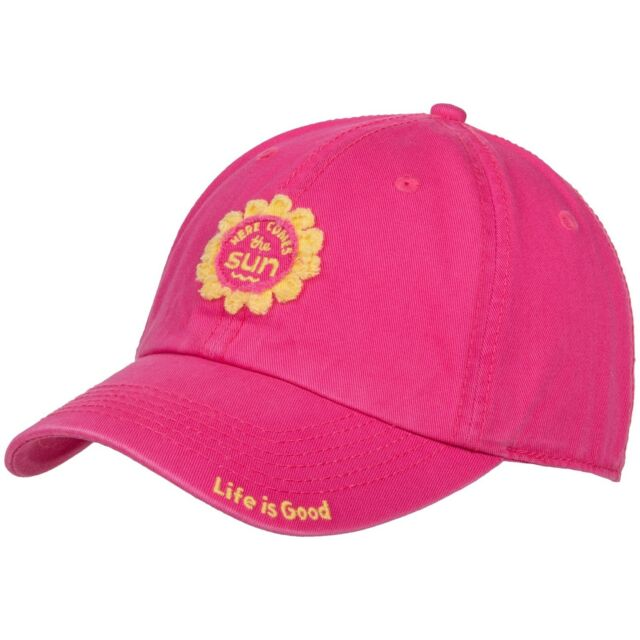 Life is Good TATTERED SUN PATCH Chill Cap Here Comes The Sun Ballcap POP PINK