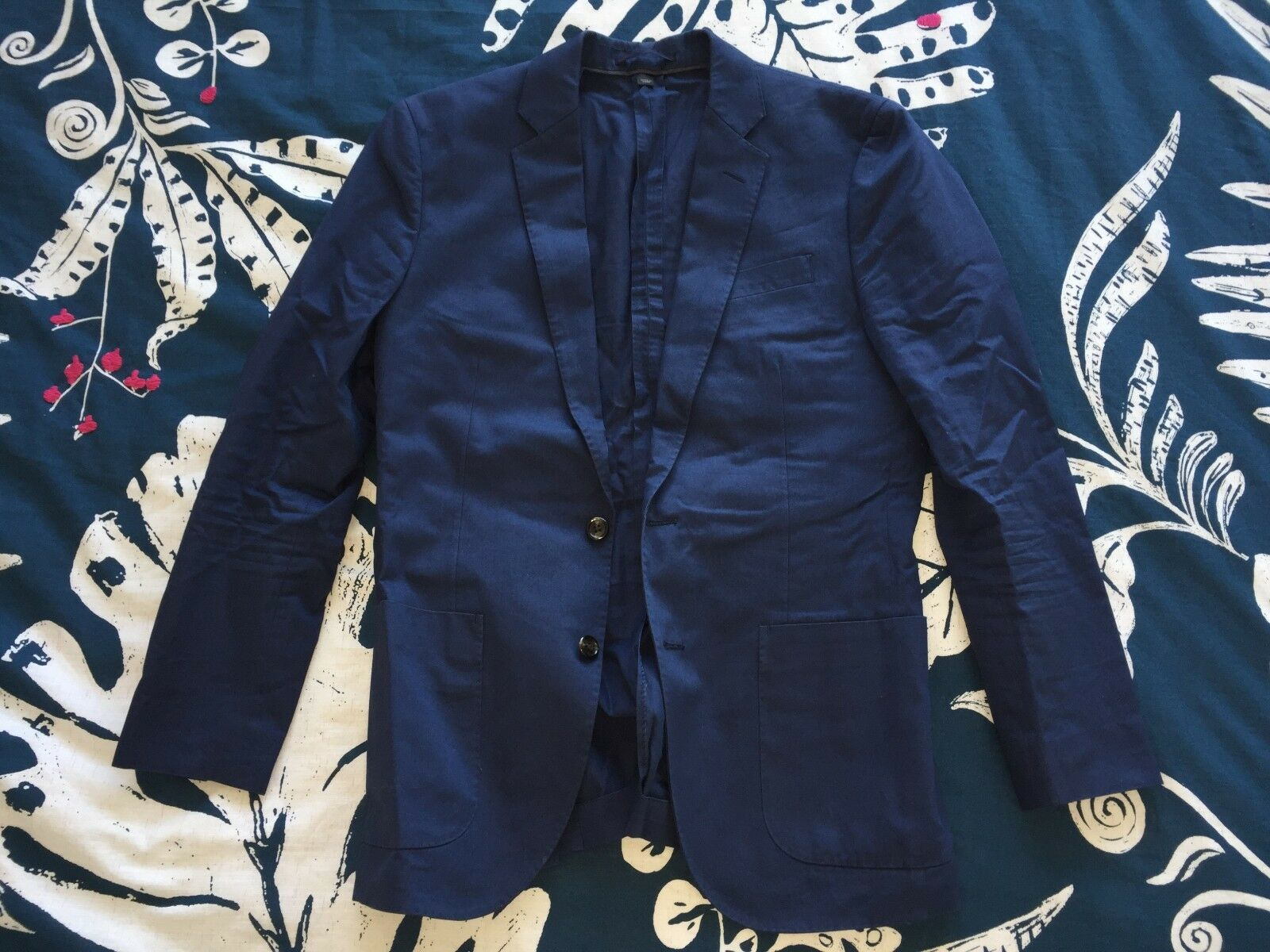 Herren J Crew Ludlow blazer Sport coat in Italian cotton 36S Blau 2 Button