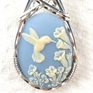 Hummingbird Blue Cameo Pendant .925 Sterling Silver ...