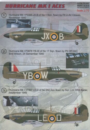 NEW 1:72 Print Scale Decals 72065 Hawker Hurricane Mk.I Battle Of Britain Aces