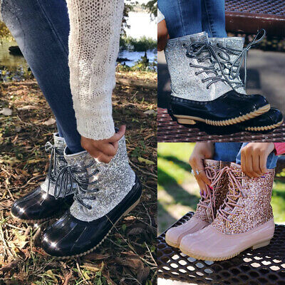 Women/'s Lace Up Duck Ankle Boots Lady Waterproof Hiking Walking Hiker Rain Shoes