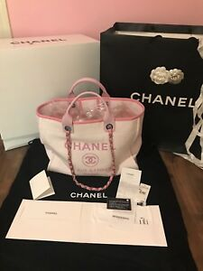 f0f326353f92 Image is loading Brand-new-Authentic-CHANEL-Canvas-Pink-Tote-Deauville-