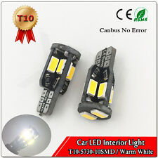 10Pcs Warm White DC12V T10 W5W 194 168 5730 10SMD Led Canbus No Error Light bulb