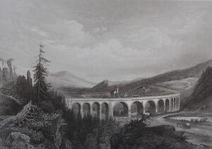 Lithografie-XIX-die-Uber-Eisenbahn-den-Semmering-Oesterreich