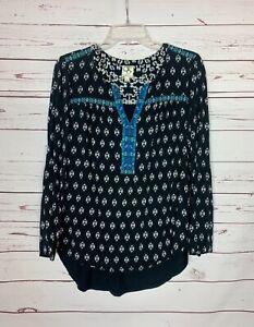One-September-OS-Anthropologie-Womens-M-Medium-Black-Boho-Embroidered-Top-Blouse