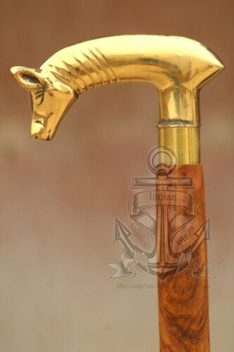 Solid Brass Unique Pig Head Victorian Walking Stick Cane Wooden Cane 36/'/' Gift