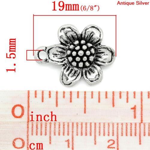 10 ANTIQUE SILVER SUN FLOWER CHARMS//PENDANTS 19x14mm~wine glass charm~chain 71E