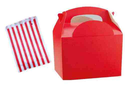 Red Birthday Party Food Meal Lunch boxes With Free Candy Sweet Cake Bag