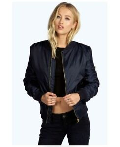 6ab91ed140d45 Image is loading Ladies-Boohoo-Bomber-Jacket-Navy-Size-XS