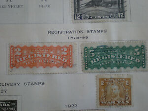(Lot of 2) 1875-89 Canada Registered Letter 2c & 5c Used Hinged Stamps