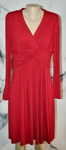 ADRIANNA PAPELL Red Stretch Jersey Dress 14 Long Sleeves Twist Waistband