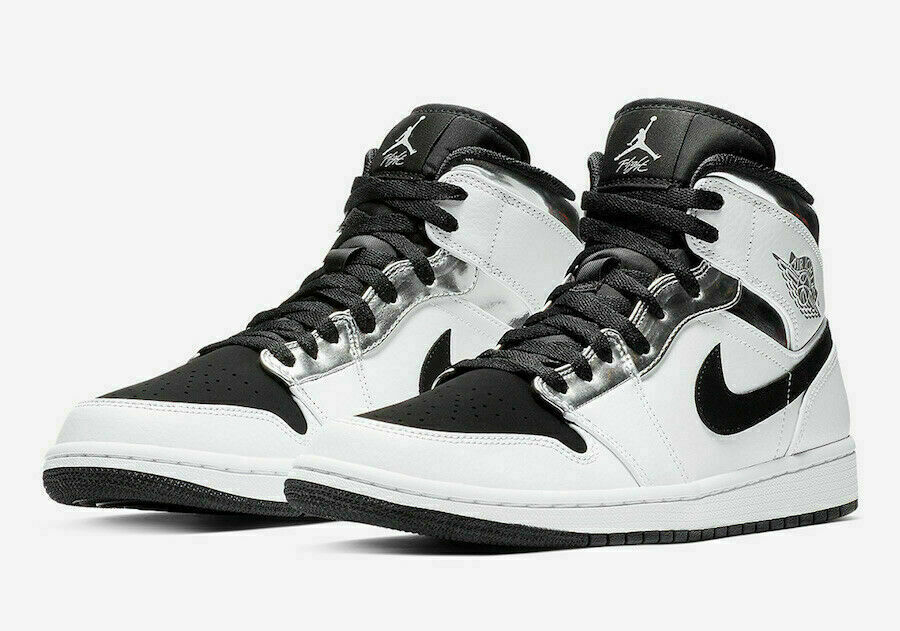 Nike Air Jordan 1 Mid Alternate Think 16 Silver Black 554724-121 Mens Sizes