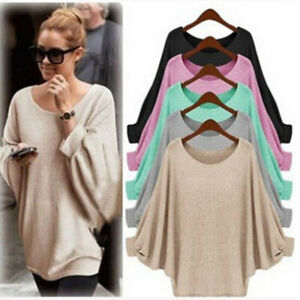 Women-Long-Sleeve-Pullover-Shirt-Ladies-Loose-Casual-Blouse-Jumper-Knitted-Tops
