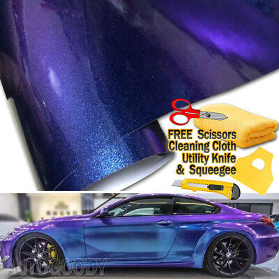 Gloss Metallic Chameleon Car Vinyl Film Wrap Purple Blue Sticker Air Bubble Free