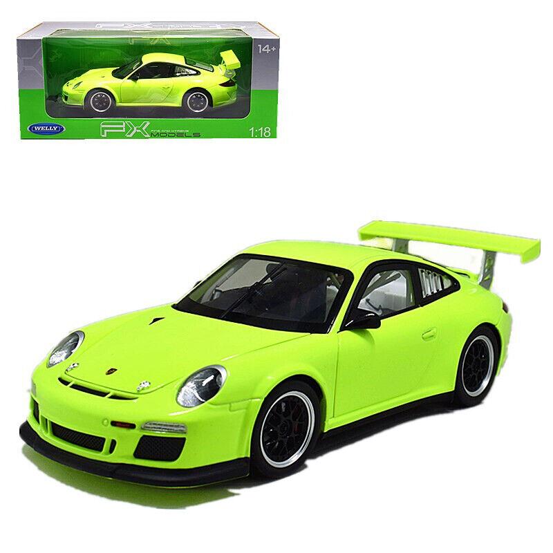 Welly 1 18 Porsche 911 GT3 Cup Coche Modelo de Metal Fundido Juguete Nuevo en Caja verde