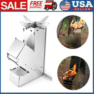 Mini Wood Burning Stove Outdoor Rocket Stove Stainless Steel Camping Grill T2E2