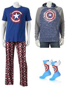 Captain-America-Fleece-Hoodie-Pants-T-Shirt-Socks-Men-039-s-M-L-XL-XXL-New-Tags
