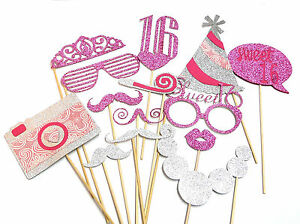 Photo Booth Props Weddings Parties Sweet 16 Deluxe Glitter Set X