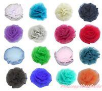 Solid Color Rosettes Rose Flower Clips for Pettiskirt Hat Top Bag Tutu Headband