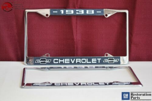 1938 Chevy Chevrolet GM Licensed Front Rear Chrome License Plate Holder Frames