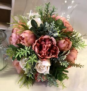 Silk Wedding Bouquet Vintage Dusty Pink Peony Roses Peonies Bouquets