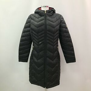 MICHAEL-KORS-Black-Quilted-Padded-Long-Line-Zip-Packable-Jacket-Size-M-501337