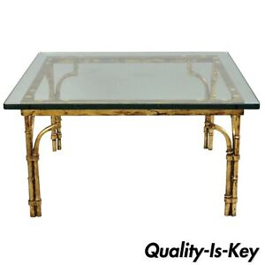 Details About Italian Gold Gilt Iron Gl Faux Bamboo Square Coffee Table Hollywood Regency