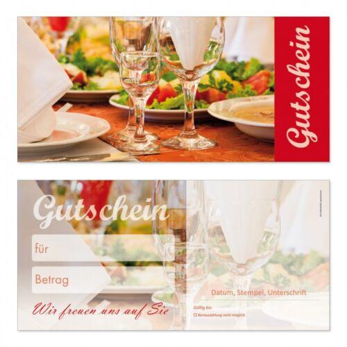 100 Premium Geschenkgutscheine-220 Din Lang Neutral für Gastronomie Restaurant