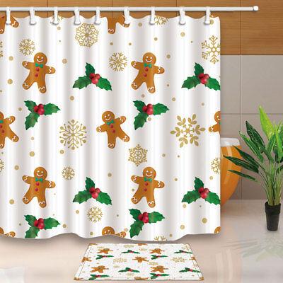 Holly fruit and Christmas socks Shower Curtain Bathroom Fabric /& 12hooks 71*71in