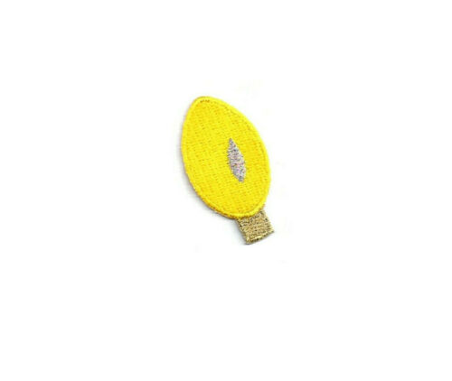 Decor Christmas Yellow Crafts Iron On Patch Embroidered Lightbulb