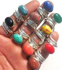 ONLINE JEWELRY! MIX GEMS WHOLESALE LOT 10PC 925 STERLING! SILVER OVERLAY RING!!!