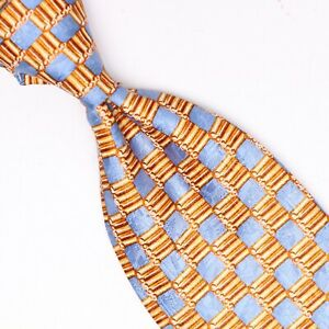 Ermenegildo-Zegna-Mens-Silk-Necktie-Gold-Blue-Check-Checkered-Print-Italy-Tie