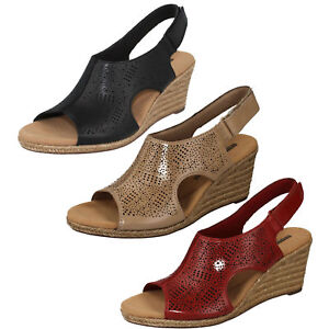 ee2a3699839 LADIES CLARKS LEATHER PEEP TOE WEDGE SLINGBACK SUMMER SANDLES LAFLEY ...