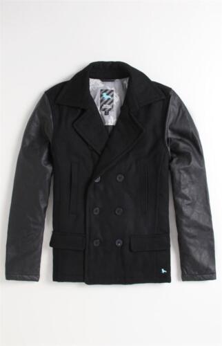 Modern Amusement Neal Black Wool Blend Double Breasted Peacoat Jacket Coat NWT