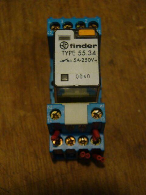 Finder TYP 55.34.  Relais 230V AC (1 Stück) mit Sockel