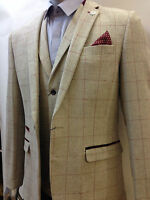 Mens Marc Darcy Designer Cream Vintage Tweed Herringbone Jacket Checked Blazer