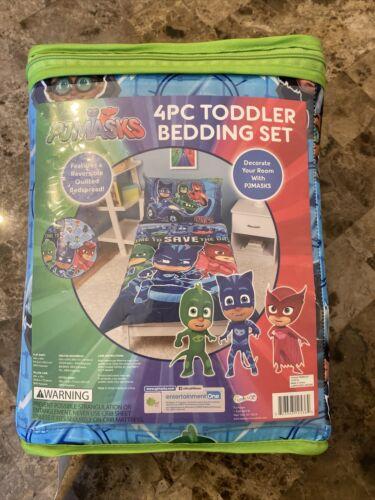 PJ Masks Toddler Bed Bedding Set Catboy Owlete Gekko 4-Piece Sheets Bedspread
