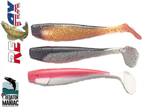 "pike,zander,perch,cat pack of 3 lures relax kopyto shad 4/"" 115mm"