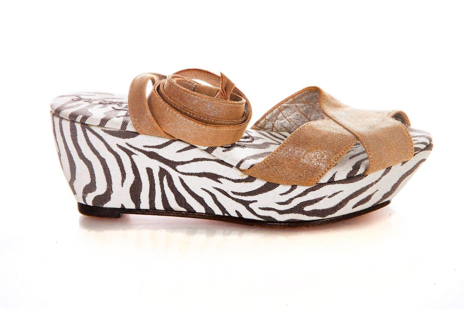 ELISA FERARE Wedges US 6.5 Ivory Beige Tan Zebra Print Metallic Ankle Lace Up