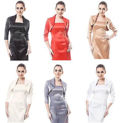 New Women Wedding Satin Bolero Shrug Jacket Stole 3/4 Length Sleeve Uk Size 6-28 Klar Und Unverwechselbar
