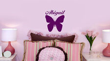 Personalized BUTTERFLY decal w NAME VINYL WALL ART STICKERS room decor DECAL V