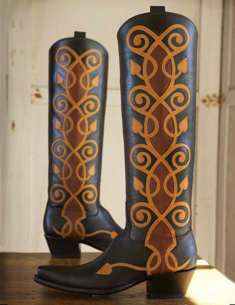 Stunning Rocketbuster Baronette Riding Cowboy Boots - Wm's 5.5B - Brown Calf