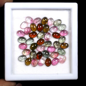 Natural-Tourmaline-42-Pcs-7mm-5mm-Multi-Color-Cabochon-Gemstones-Wholesale-Lot